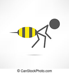 icône, homme, abeille