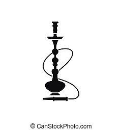 icône, hookah, style, noir, simple