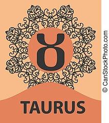 icône,  horoscope, taureau, modèle, Taureau, vecteur,  Illustration, Orné, zodiaque,  Mandala, astrologie