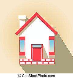 icône, house., à, a, rouges, toit, sur, arrière-plan pastel