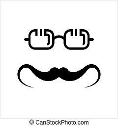 icône, icône, moustache, moustache, lunettes