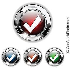 icône, illust, button., vecteur, accepter
