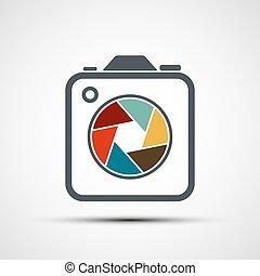 icône, illustration., appareil-photo., stockage