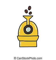 icône, illustration, griffonnage, rôtissoire, café, couleur, vecteur