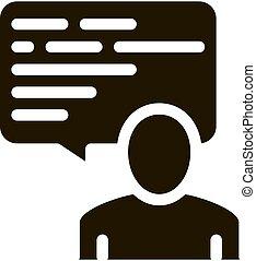 icône, illustration, homme, cadre, citation, texte