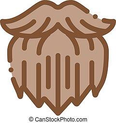 icône, illustration, humain, barbe, brutal, contour, ...