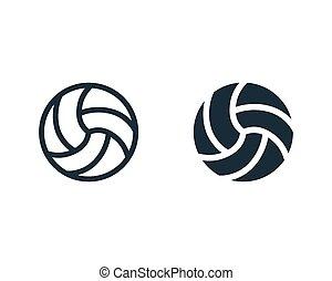 icône, illustration, logo, vecteur, gabarit, volley-ball, conception