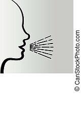 icône, illustration, profil, -, humain, parler homme, voix