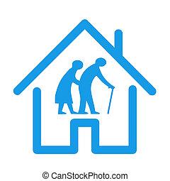 icône, illustration, retraite, maison