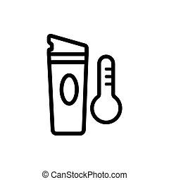 icône, illustration, température, thermo, élevé, vecteur, tasse, contour