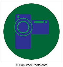icône, illustration, vecteur, appareil photo, fond blanc