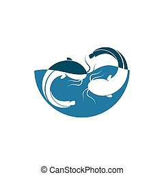icône, illustration, vecteur, conception, poisson-chat
