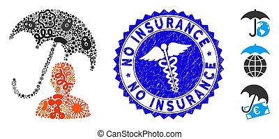 icône, infected, collage, non, parapluie, assurance, soin, patient, cachet, grunge, médecine