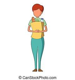 icône, infirmière, style, dessin animé