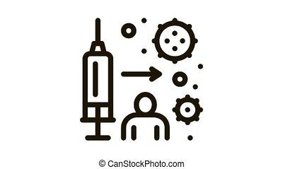 icône, injection, animation, immunisé