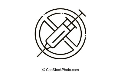 icône, injection, interdiction, animation