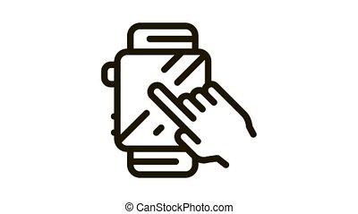 icône, intelligent, montre, animation