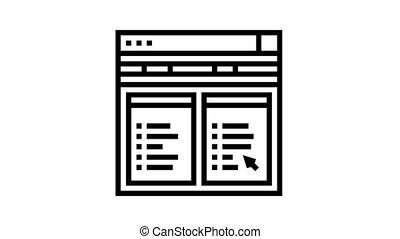 icône internet, hosting, animation, ligne, fichier
