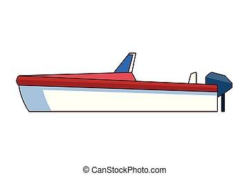 icône, isolé, bateau, dessin animé