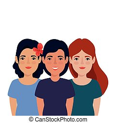 icône, isolé, groupe, belles femmes