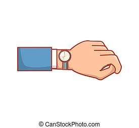 icône, isolé, main, horloge