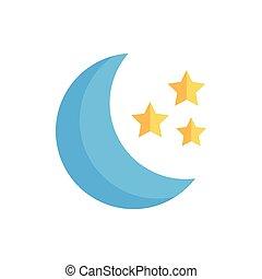icône, isolé, nuit, lune, desing