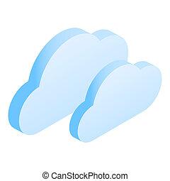 icône, isométrique, données, style, nuage