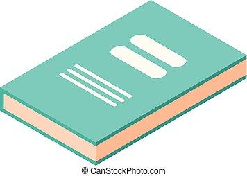 icône, isométrique, livre, vert, style