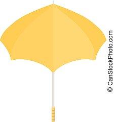 icône, isométrique, parapluie, style, jaune