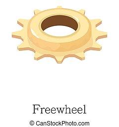 icône, isométrique, style, freewheel, 3d