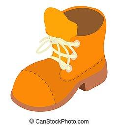icône, isométrique, style, randonnée, chaussure