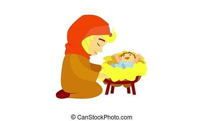 icône, jésus, naissance, animation
