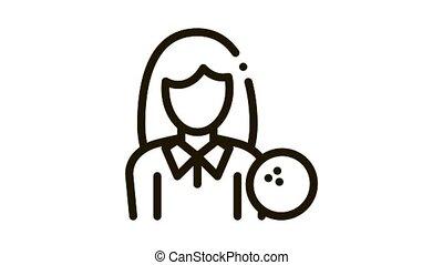 icône, joueur, femme, animation