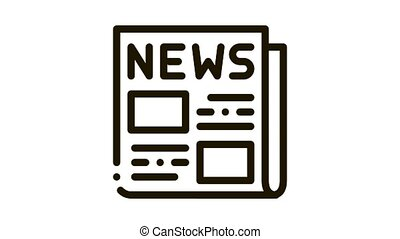 icône, journal, animation, nouvelles