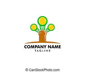 icône, lampe, logo, conception, vecteur, arbre