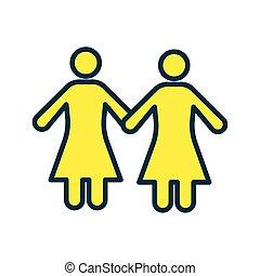 icône, lesbienne, figures, femme, plat, style