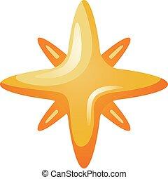 icône, levée, style, étoile, dessin animé