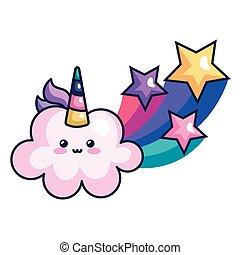 icône, licorne, style, nuage, étoiles, mignon, tir, kawaii