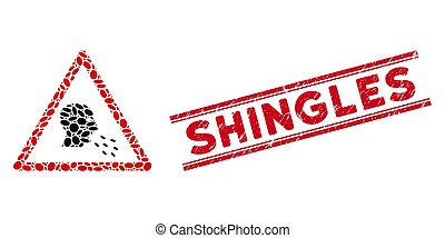 icône, ligne, avertissement, collage, zona, patient, cachet, grunge, infected