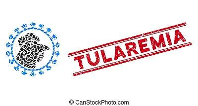 icône, ligne, collage, tularemia, poulet, virus, cachet, grunge, grippe