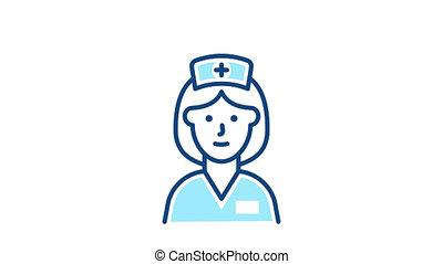 icône, ligne, infirmière, médecine