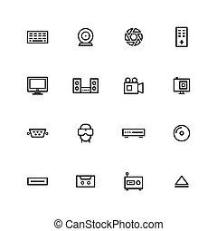 icône, ligne, multimédia