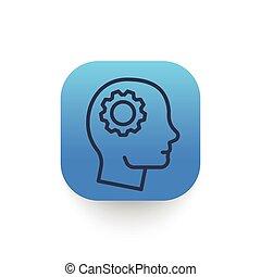 icône, ligne, tête, vecteur, illustration, engrenage