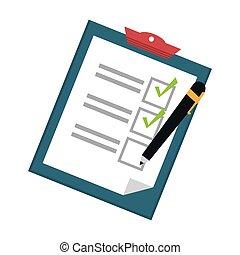 icône, liste contrôle, image, presse-papiers