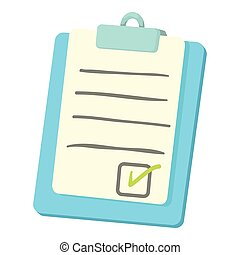 icône, liste contrôle, style, presse-papiers, dessin animé