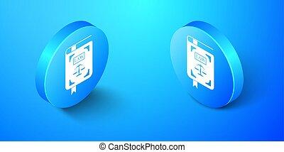 icône, livre, isométrique, bleu, balances, vecteur, isolé, justice, button., cercle, arrière-plan., droit & loi, statut