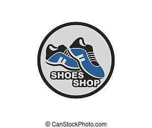 icône, logo, conception, illustration, chaussures, vecteur
