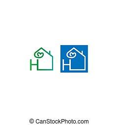 icône, logo, h, maison, lettre, amour