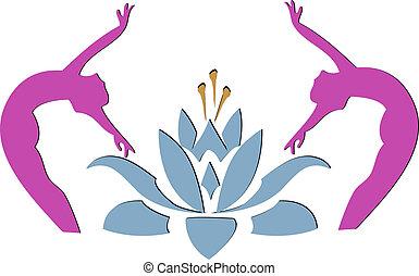 icône, lotus, yoga