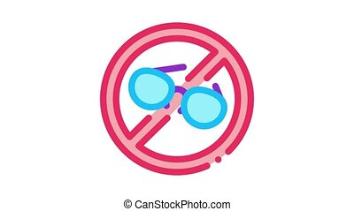 icône, lunettes, porter, interdiction, animation